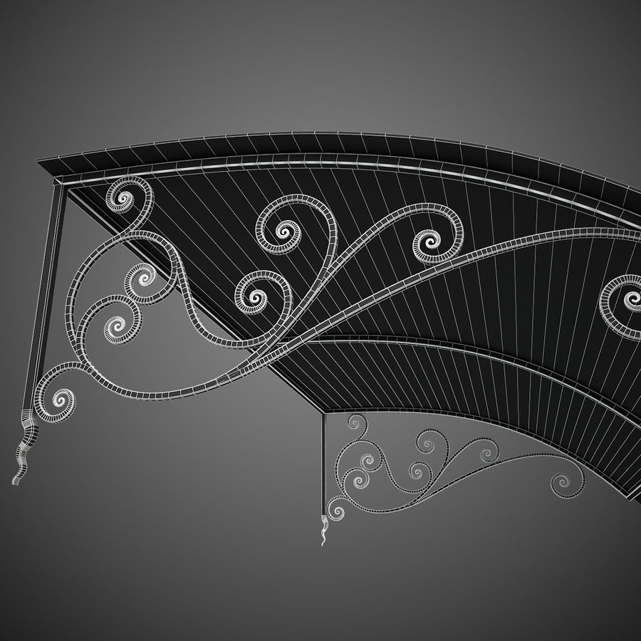 Wrought Iron Awning 18 royalty-free 3d model - Preview no. 10