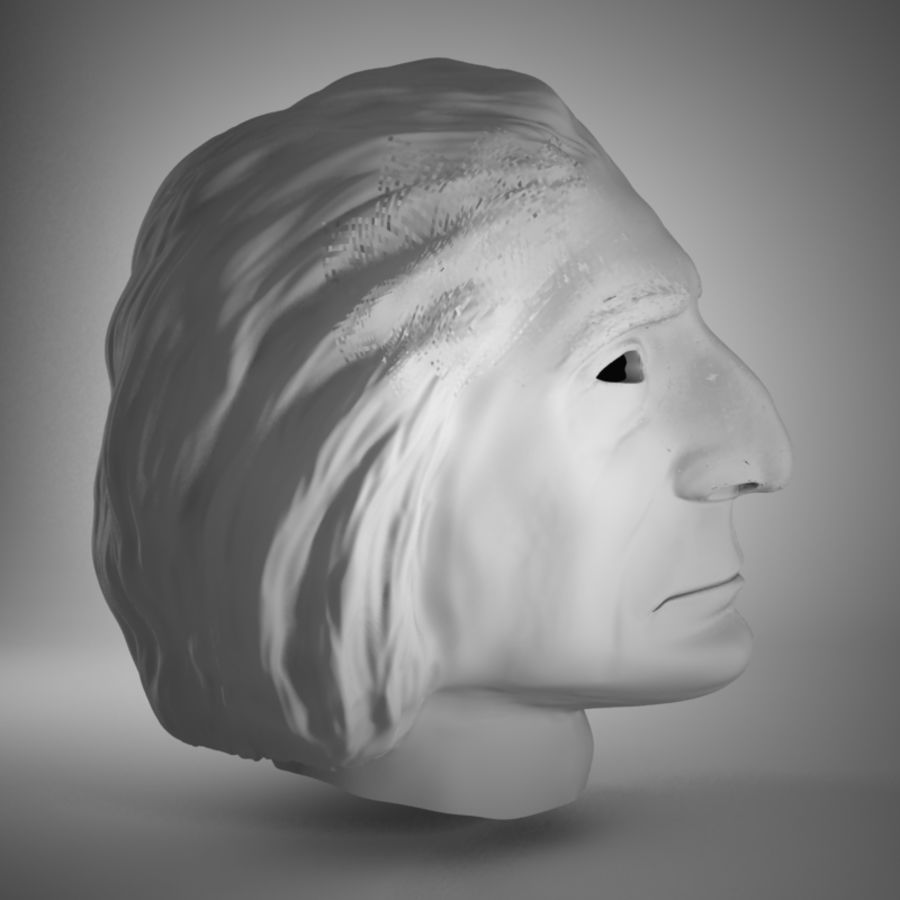 Old Man Head royalty-free 3d model - Preview no. 4