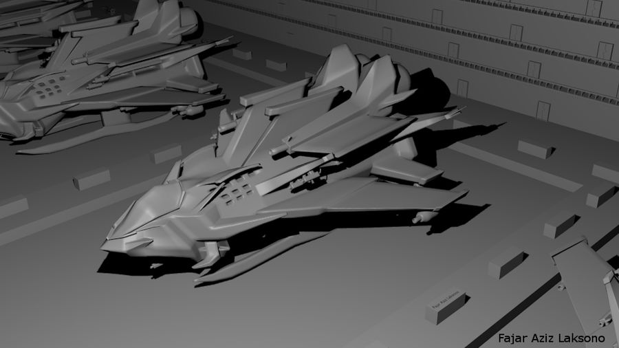SCI FI SpaceShip royalty-free 3d model - Preview no. 1