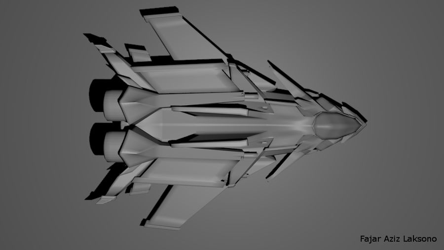 SCI FI SpaceShip royalty-free 3d model - Preview no. 3