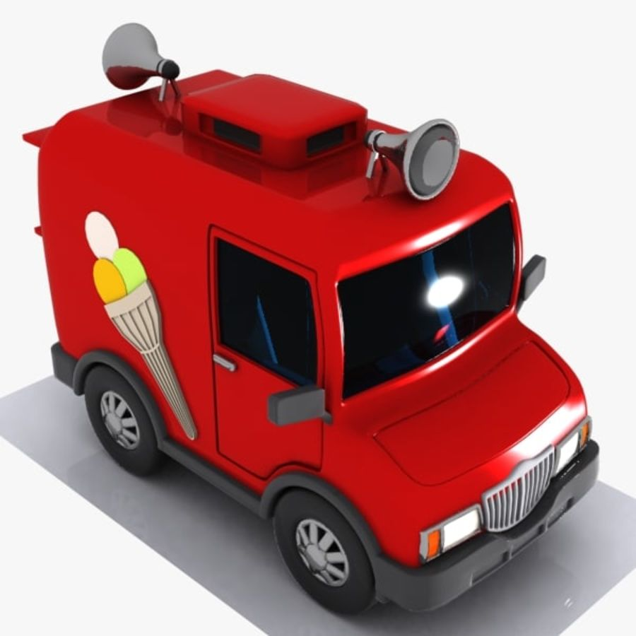 Cartoon Icecream Truck royalty-free 3d model - Preview no. 4