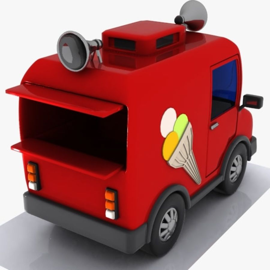Cartoon Icecream Truck royalty-free 3d model - Preview no. 6