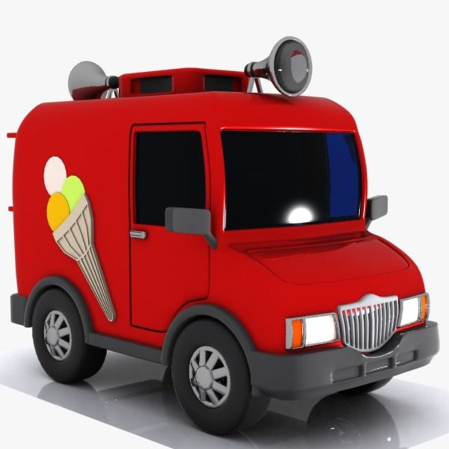 Cartoon Icecream Truck royalty-free 3d model - Preview no. 5