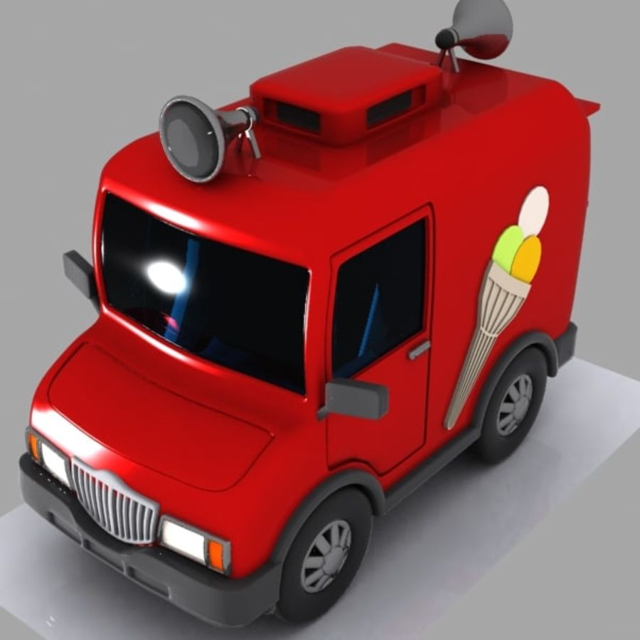 Cartoon Icecream Truck royalty-free 3d model - Preview no. 2