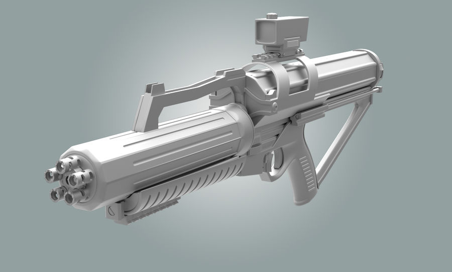 Calico Minigun Rifle royalty-free 3d model - Preview no. 3