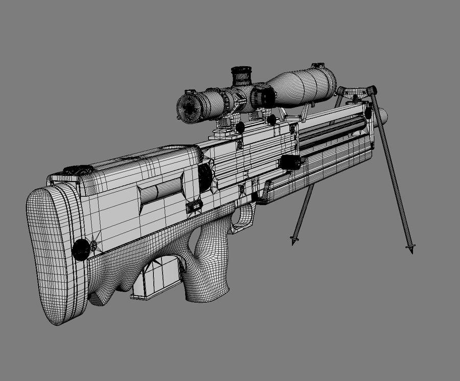 Walther WA2000 No Materials royalty-free 3d model - Preview no. 11