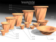 Terracotta Pots Set - Tiered Scallop 3d model
