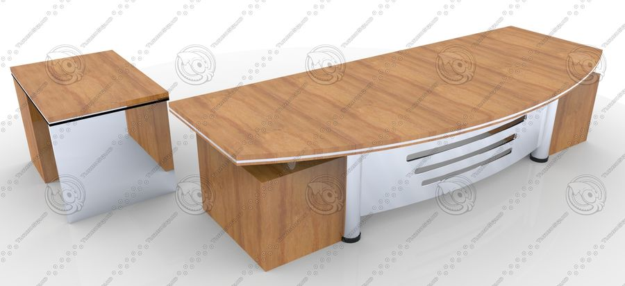 Office Furniture Table royalty-free 3d model - Preview no. 3