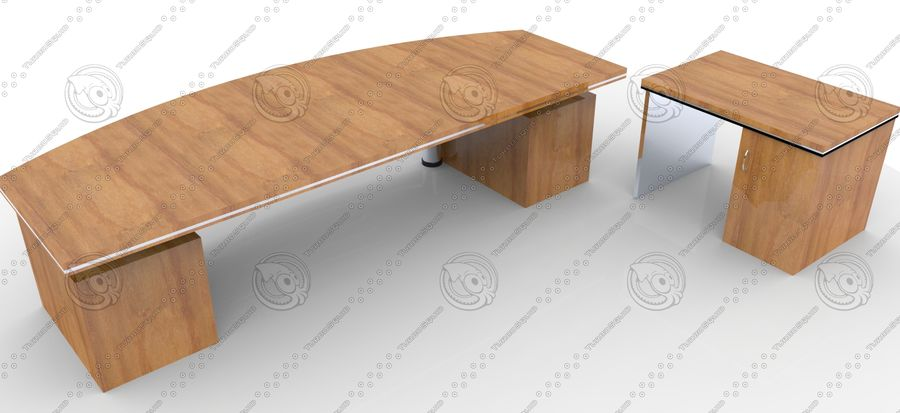 Office Furniture Table royalty-free 3d model - Preview no. 2