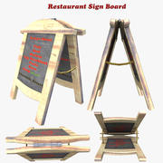 Restaurant Sign Board 3d model