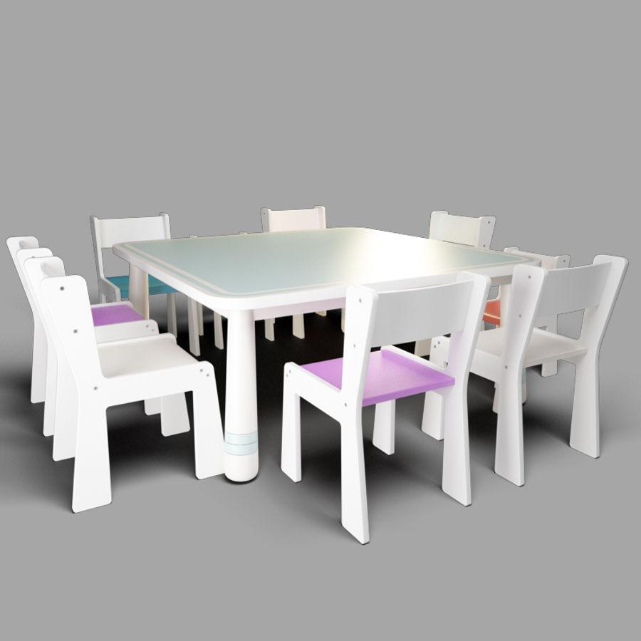 mobília para crianças jardim de infância royalty-free 3d model - Preview no. 3
