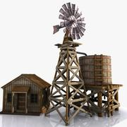 Cartoon Western Building 11 (Windmill & Watertank) 3d model