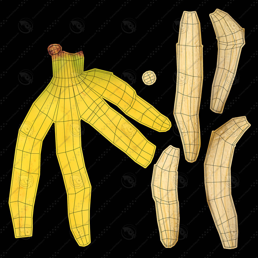 Banana Peels royalty-free 3d model - Preview no. 18
