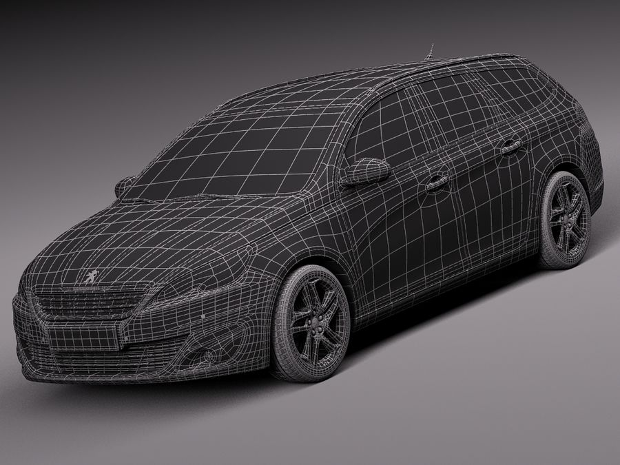 Peugeot 308 SW 2014 royalty-free 3d model - Preview no. 15