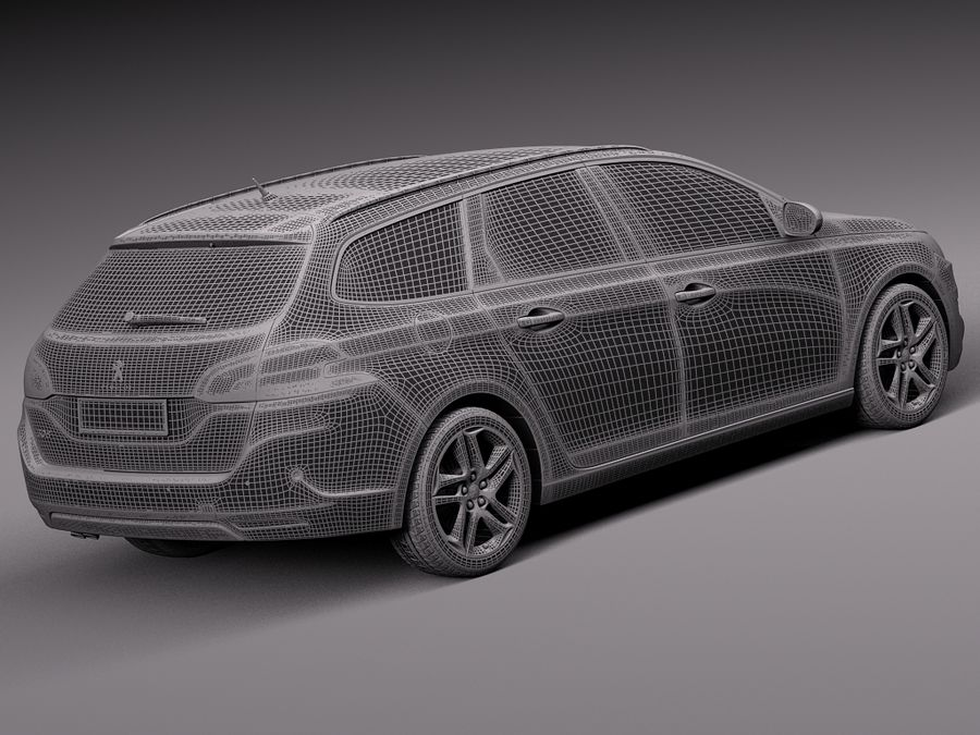 Peugeot 308 SW 2014 royalty-free 3d model - Preview no. 14
