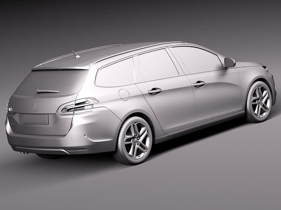 Peugeot 308 SW 2014 royalty-free 3d model - Preview no. 12