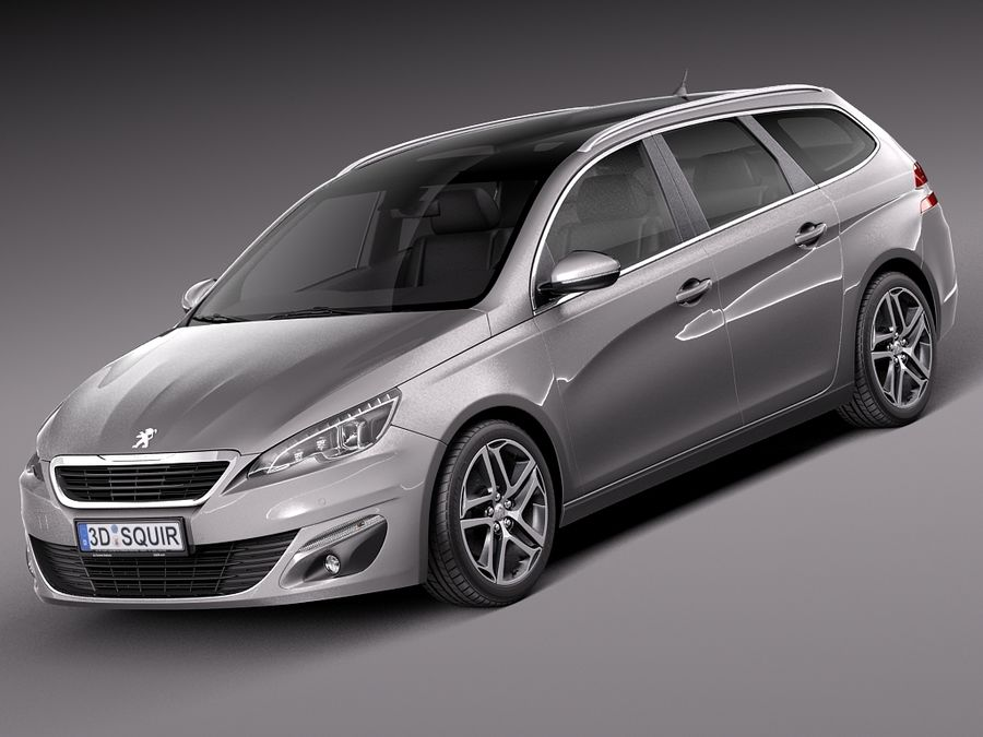 Peugeot 308 SW 2014 royalty-free 3d model - Preview no. 1