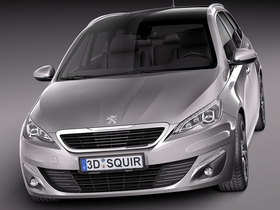 Peugeot 308 SW 2014 royalty-free 3d model - Preview no. 2