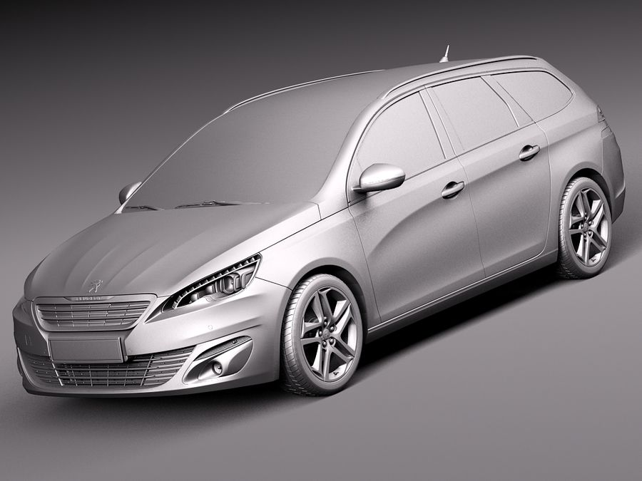 Peugeot 308 SW 2014 royalty-free 3d model - Preview no. 9