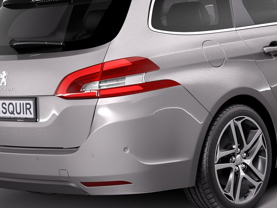 Peugeot 308 SW 2014 royalty-free 3d model - Preview no. 4