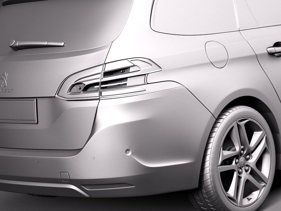 Peugeot 308 SW 2014 royalty-free 3d model - Preview no. 11