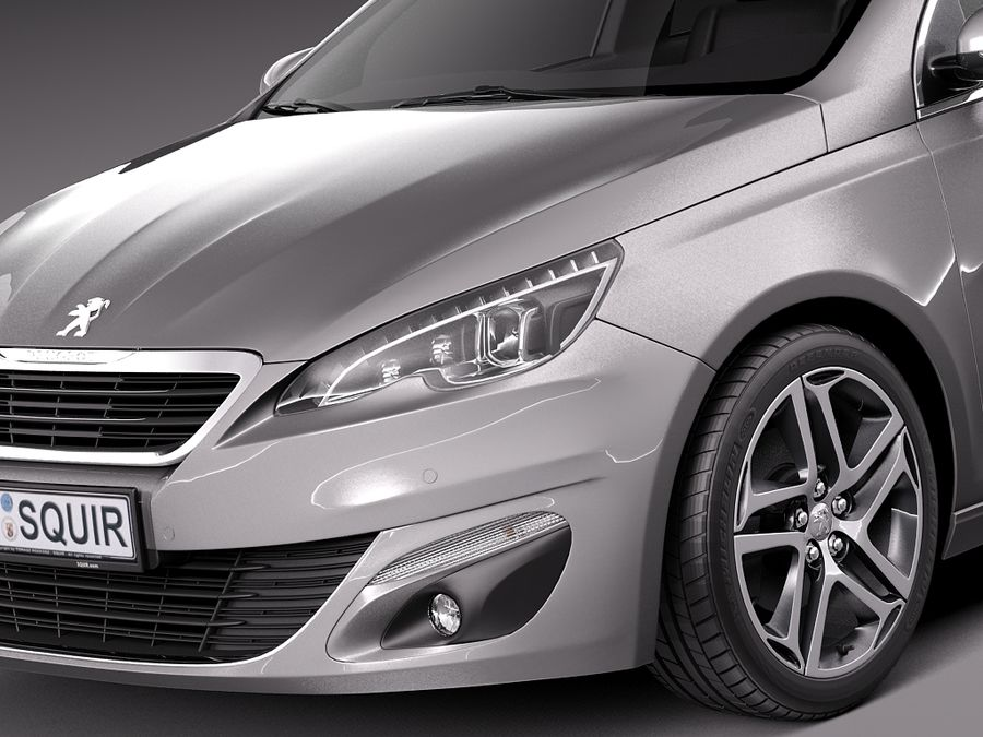 Peugeot 308 SW 2014 royalty-free 3d model - Preview no. 3