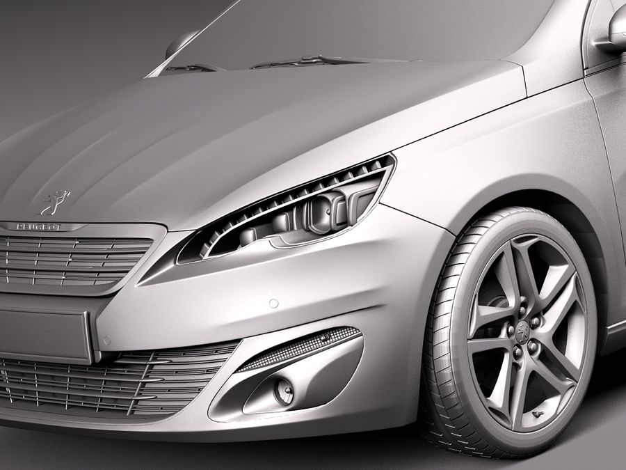 Peugeot 308 SW 2014 royalty-free 3d model - Preview no. 10