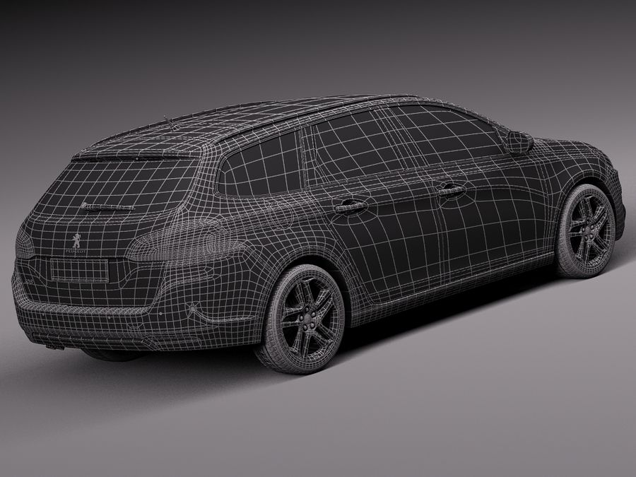 Peugeot 308 SW 2014 royalty-free 3d model - Preview no. 16