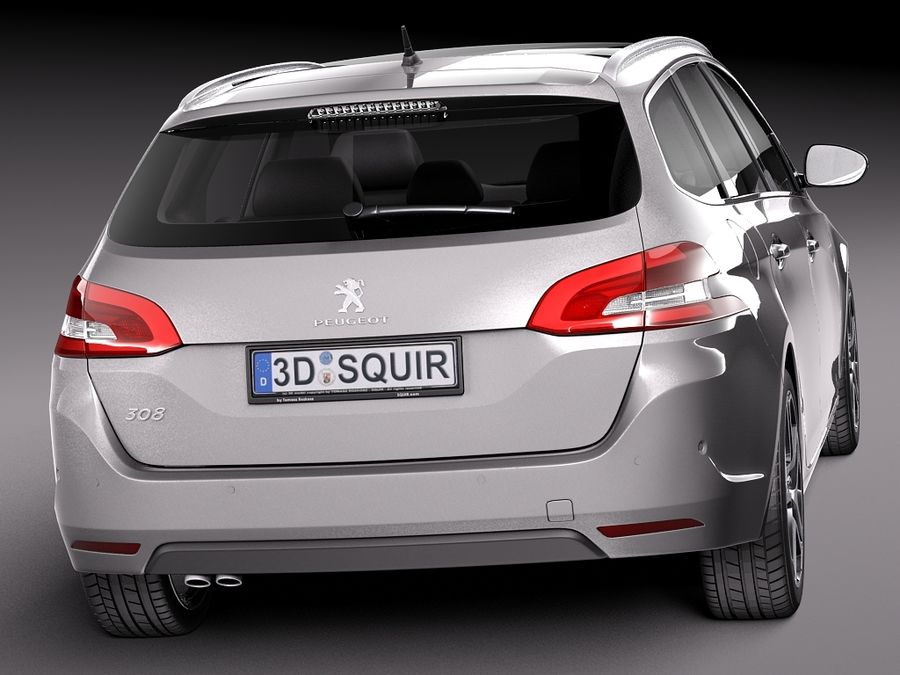 Peugeot 308 SW 2014 royalty-free 3d model - Preview no. 6