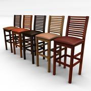 wooden bar stools 3d model