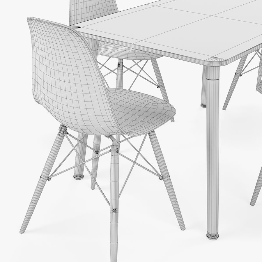 DSW Dining Table Set royalty-free 3d model - Preview no. 6
