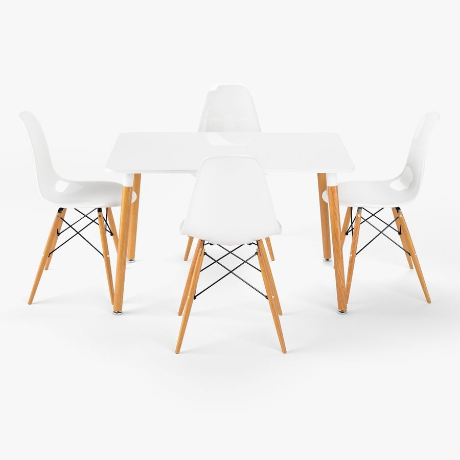 DSW Dining Table Set royalty-free 3d model - Preview no. 2