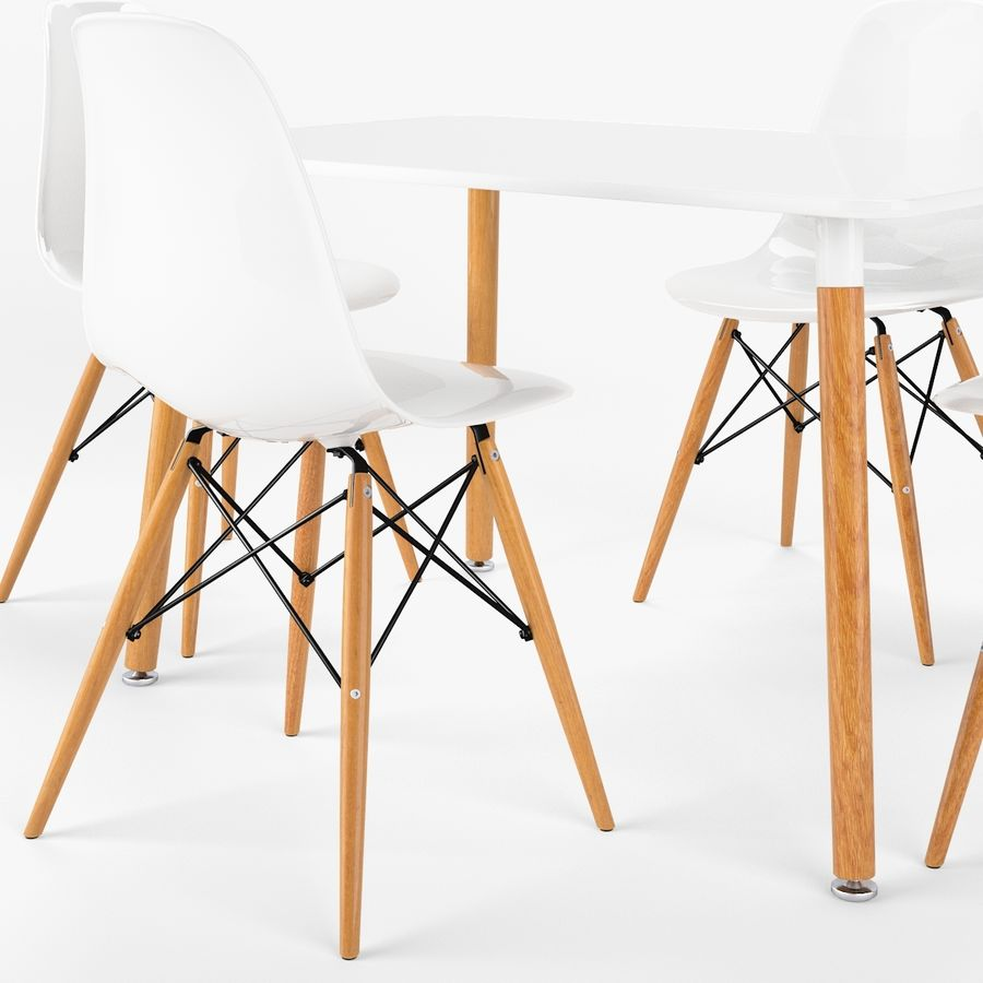 DSW Dining Table Set royalty-free 3d model - Preview no. 4