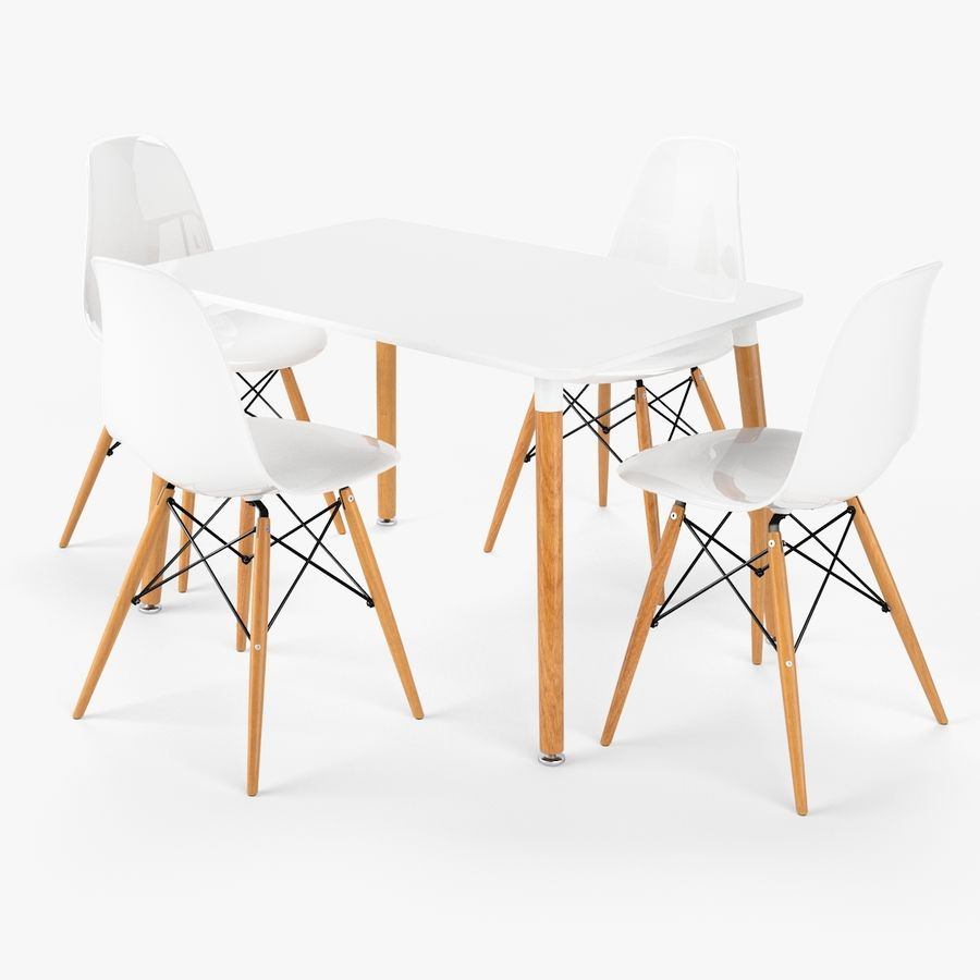 DSW Dining Table Set royalty-free 3d model - Preview no. 1