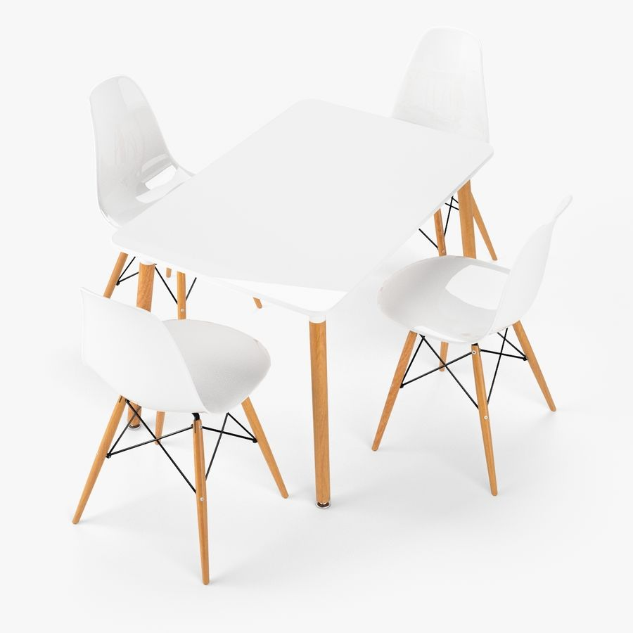 DSW Dining Table Set royalty-free 3d model - Preview no. 3