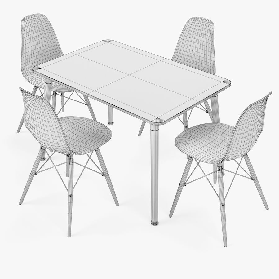 DSW Dining Table Set royalty-free 3d model - Preview no. 5