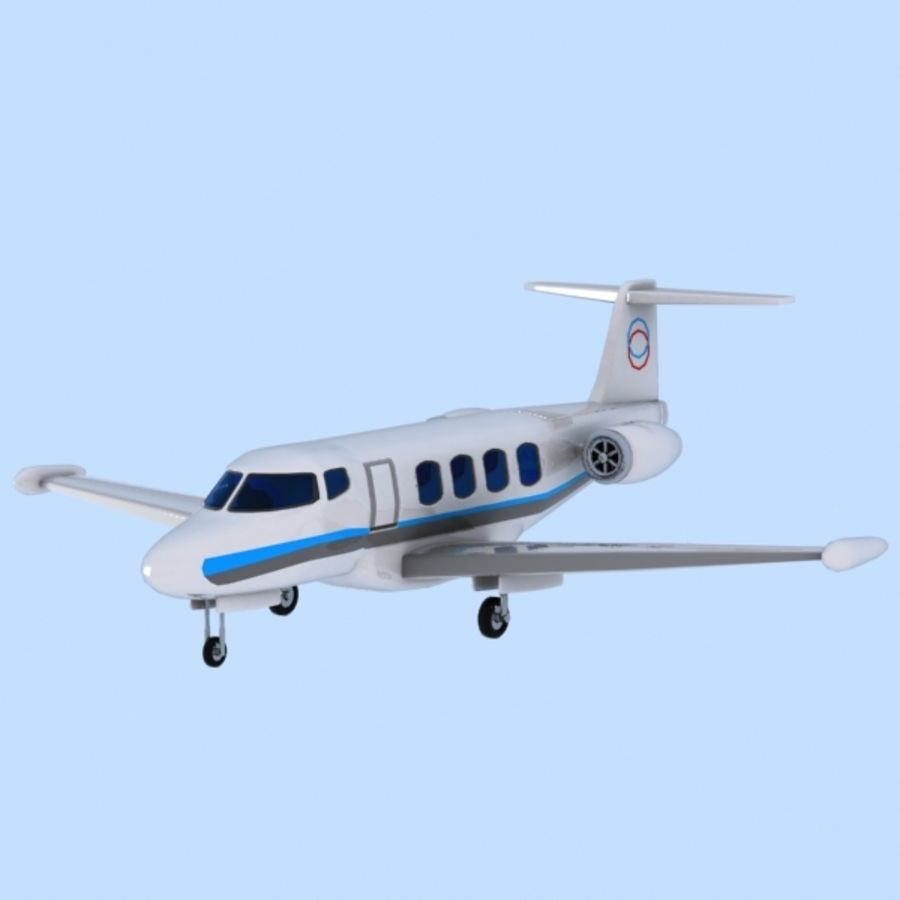 Cartoon Private Jet royalty-free 3d model - Preview no. 3