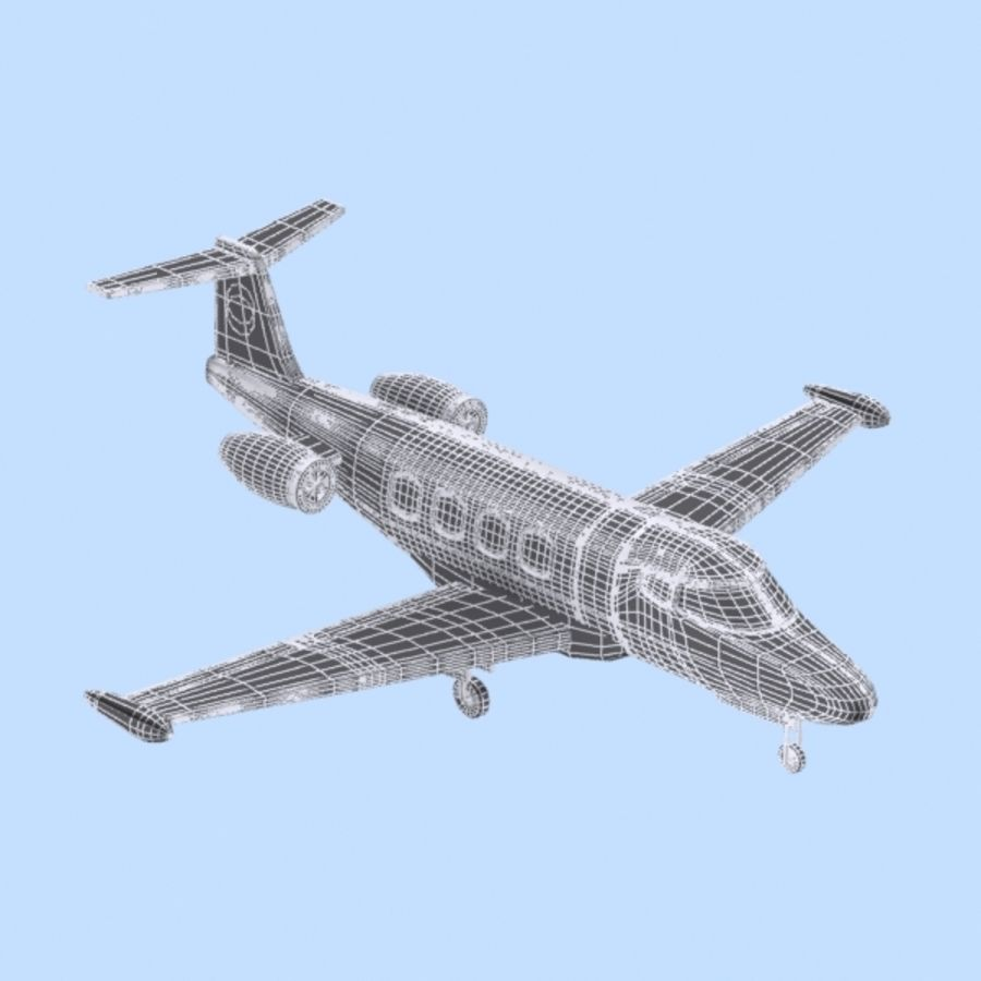 Cartoon Private Jet royalty-free 3d model - Preview no. 9