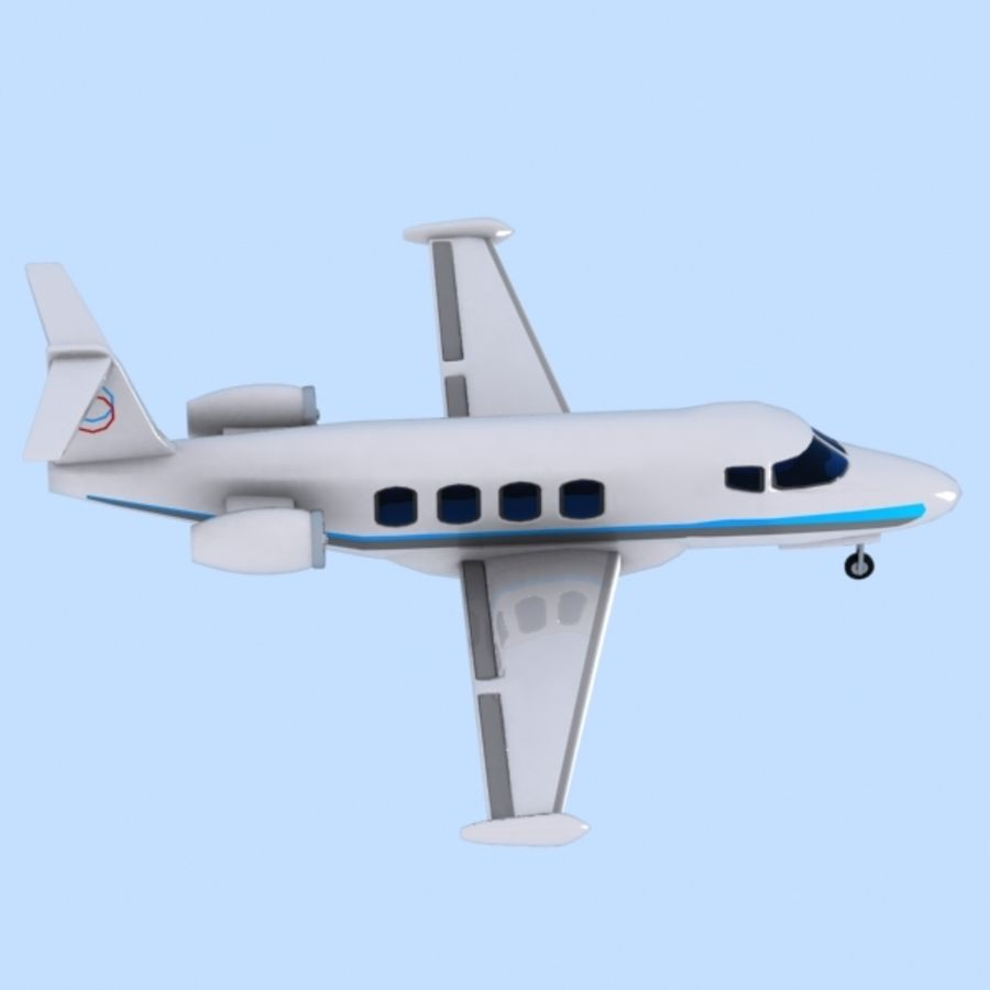 Cartoon Private Jet royalty-free 3d model - Preview no. 7
