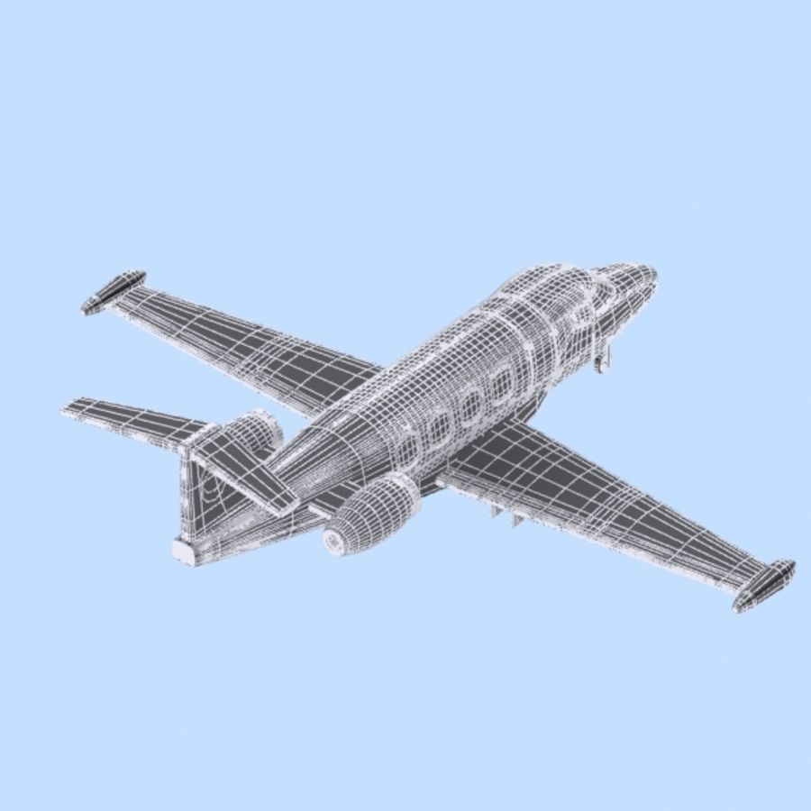 Cartoon Private Jet royalty-free 3d model - Preview no. 10