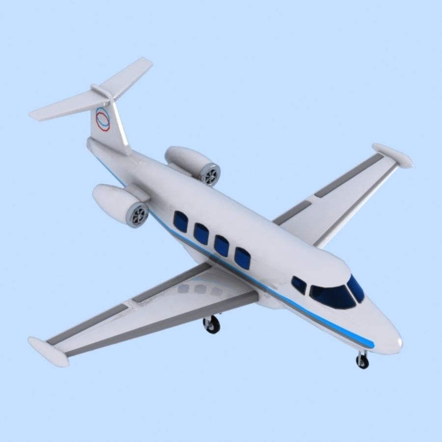Cartoon Private Jet royalty-free 3d model - Preview no. 2