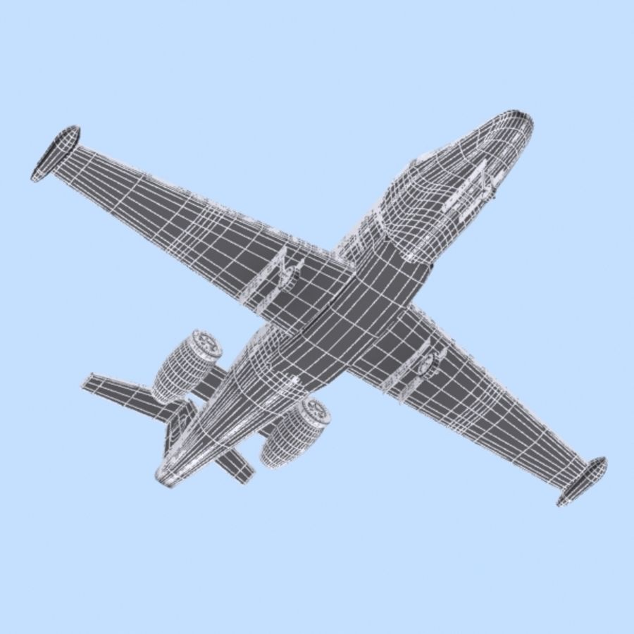 Cartoon Private Jet royalty-free 3d model - Preview no. 11