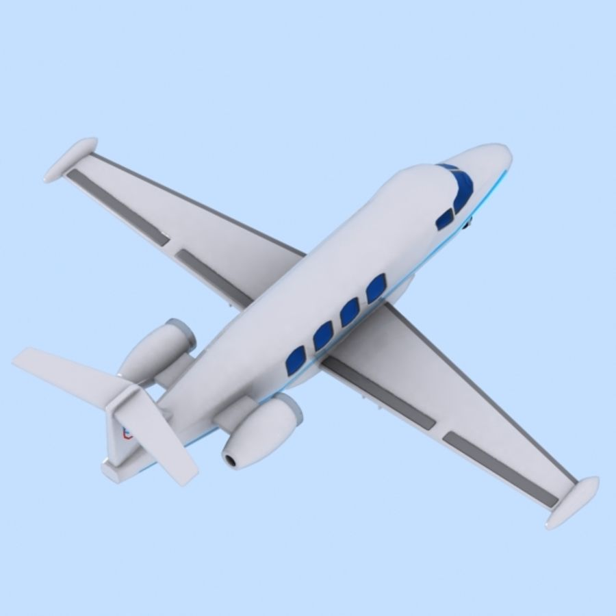 Cartoon Private Jet royalty-free 3d model - Preview no. 4