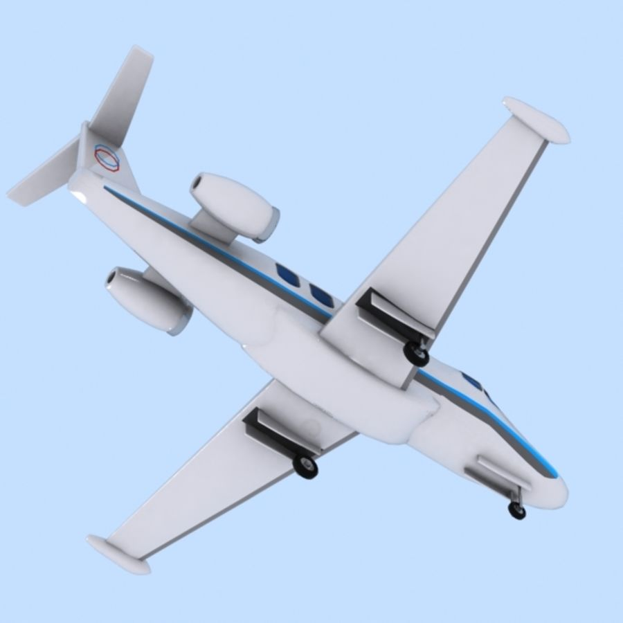 Cartoon Private Jet royalty-free 3d model - Preview no. 5