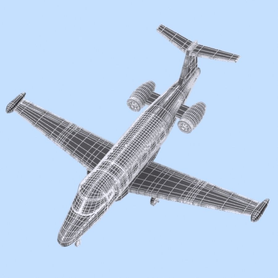 Cartoon Private Jet royalty-free 3d model - Preview no. 8