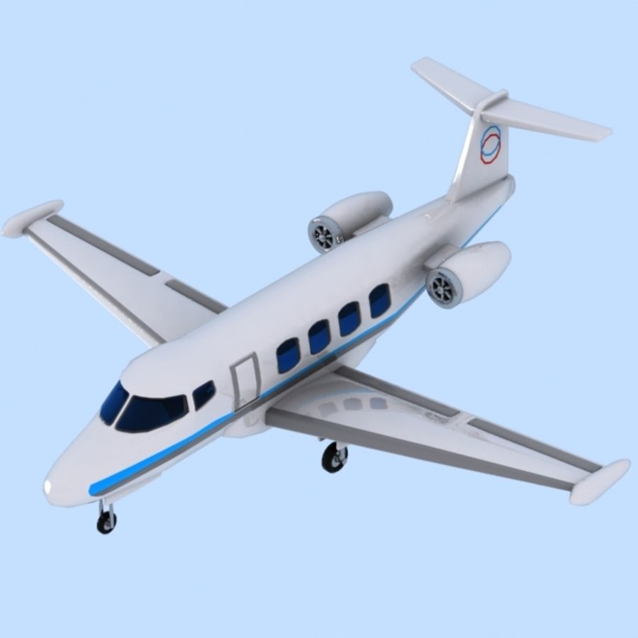Cartoon Private Jet royalty-free 3d model - Preview no. 1