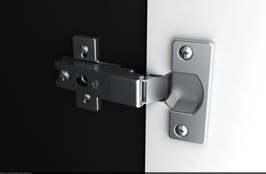 Hinge And Hydraulic Hinge For Furniture Doors Royalty Free 3d Model    Preview No.