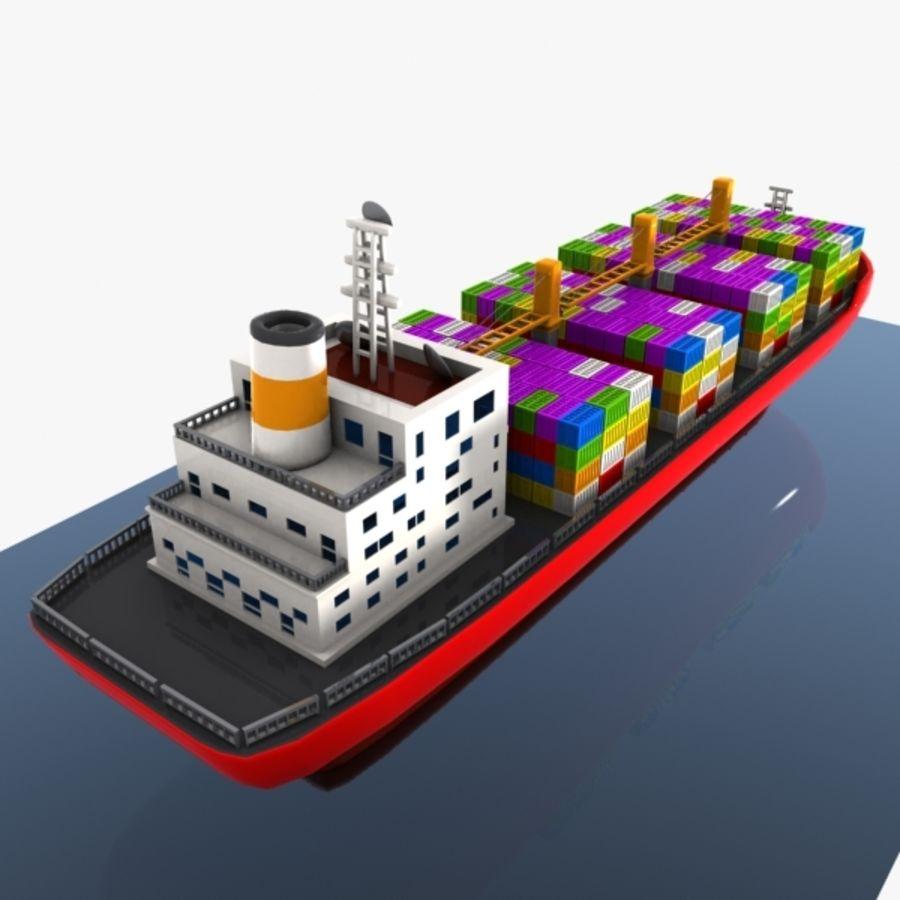Cartoon Cargo Ship royalty-free 3d model - Preview no. 6
