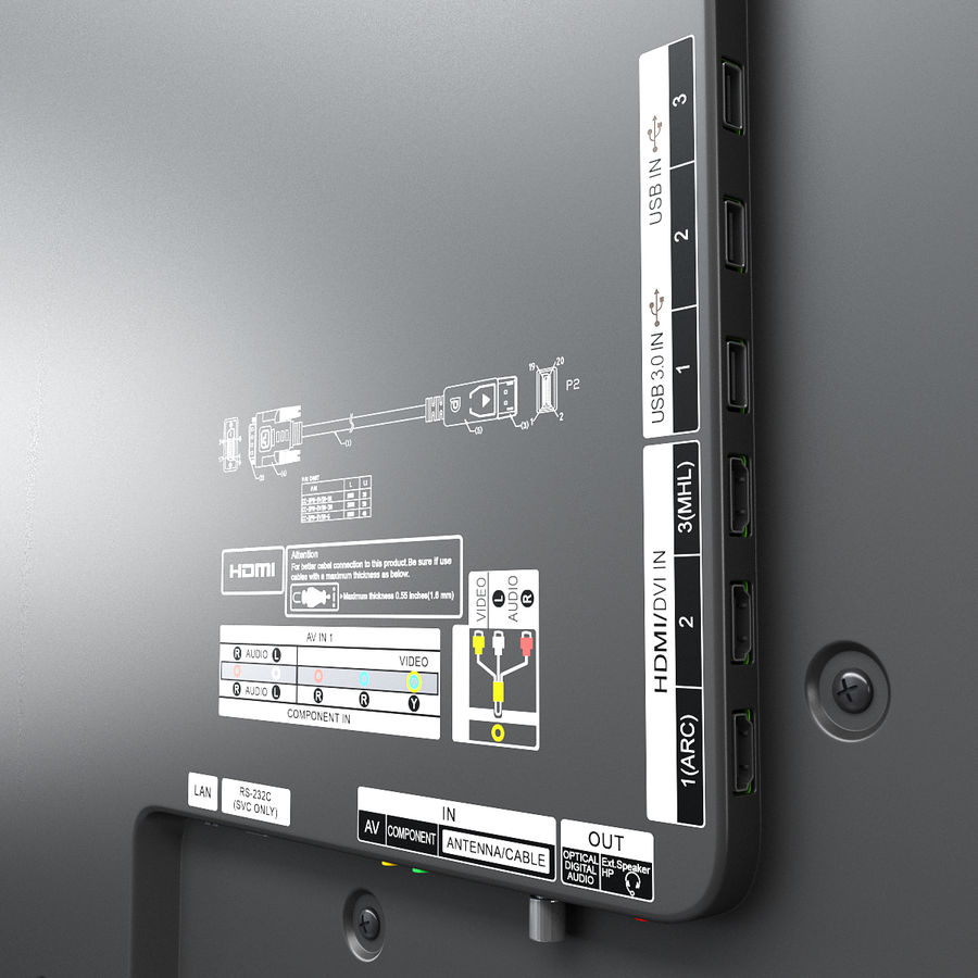 LG ULTRA HD SMART TV 65 inch 65LA970V royalty-free 3d model - Preview no. 13