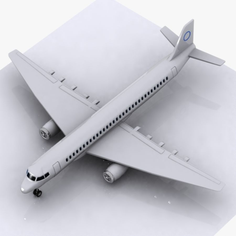 Cartoon Commercial Aircraft royalty-free 3d model - Preview no. 6